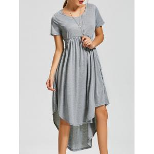 Asymmetric Maxi High Low Casual Swing Dress - Gray - Xl