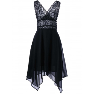 Hanky Hem Chiffon Lace Cocktail Dress - Black - M