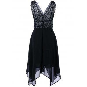 Hanky Hem Chiffon Lace Cocktail Dress - BLACK M