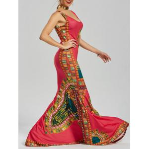 Printed Floor Length Mermaid Dress