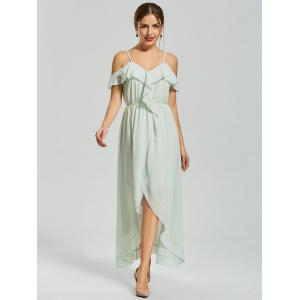 Ruffle Front Slit Chiffon Slip Dress - GREEN L