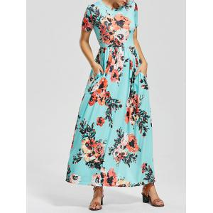 Casual Short Sleeve Floral Long Maxi Dress - Colormix - L