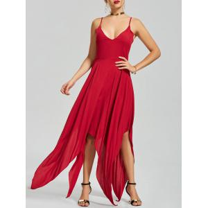 Asymmetric Criss Cross Back Slip Handkerchief Dress