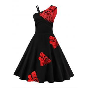 Butterfly Embroidered One Shoulder Flare Dress - Red - S
