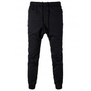 Zip Pocket Drawstring Drop Crotch Jogger Pants