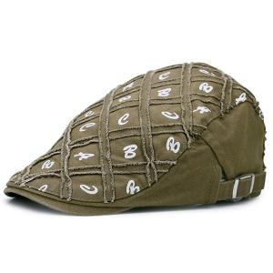Letters Embellished Artificial Abrasion Checked Flat Hat - Olive Green