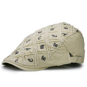 Letters Embellished Artificial Abrasion Checked Flat Hat - Palomino - 2xl