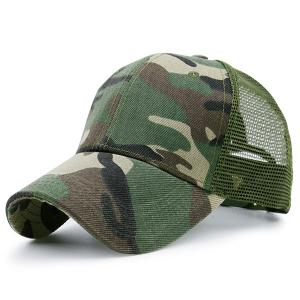 Mesh Spliced Camo Pattern Baseball Hat