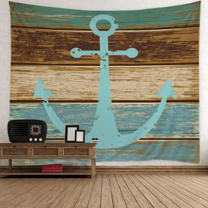 Home Decor Nautical Anchor Rustic Wood Wall Tapestry - Light Blue - W59 Inch * L79 Inch