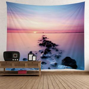 3D Beach Sunset Wall Tapestry - Light Blue - W59 Inch * L79 Inch