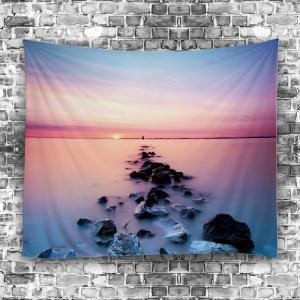 3D Beach Sunset Wall Tapestry - LIGHT BLUE W59 INCH * L79 INCH