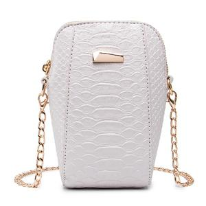 Crocodile Embossed Chain Crossbody Bag - Off-white - L