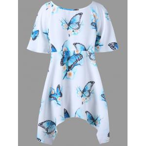 Plus Size Butterfly Printed Long Dressy Top - WHITE 3XL