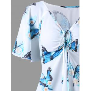 Plus Size Butterfly Printed Long Dressy Top - WHITE 5XL