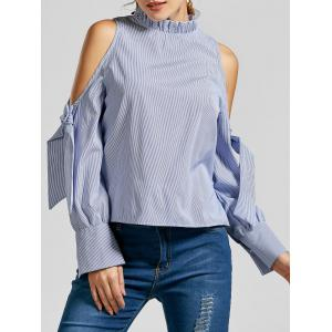 Striped Ruffle Mock Neck Cold Shoulder Blouse