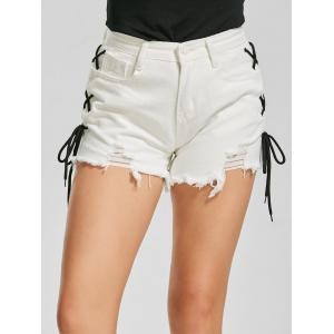 Lace Up Cuff Off Mini Denim Shorts -