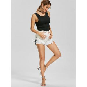 Lace Up Cuff Off Mini Denim Shorts - WHITE M