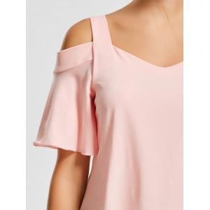 Asymmetrical Cold Shoulder Top - PINK XL