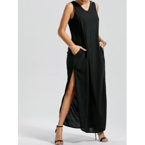 V Neck Side Slit Tank Maxi Dress - Black - Xl