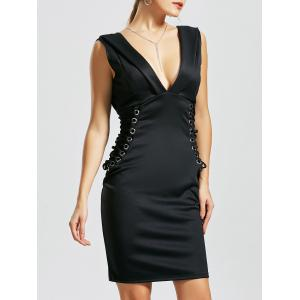 Plunge Lace-up Bodycon Dress