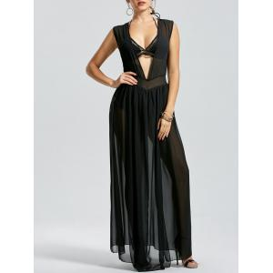 Sheer Thru High Slit Low Cut Mesh Dress