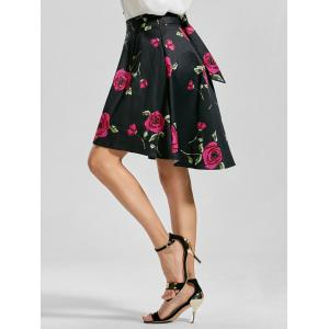 Belted High Low Floral Skirt