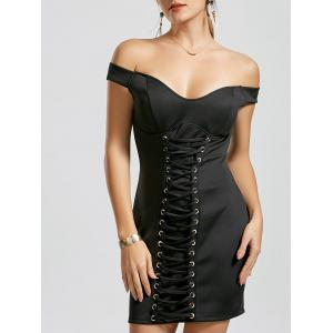 Lace-up Bodycon Off The Shoulder Dress