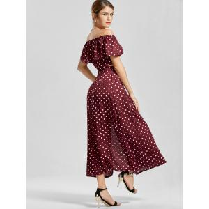Polka Dot Off The Shoulder Three Piece Dress - Rouge vineux  S
