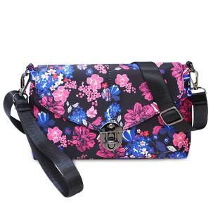 Flower Print Nylon Crossbody Bag - Purple