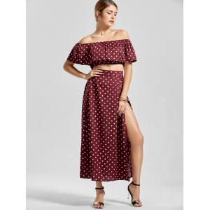 Polka Dot Off The Shoulder Three Piece Dress - WINE RED M