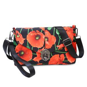 Flower Print Nylon Crossbody Bag - Red