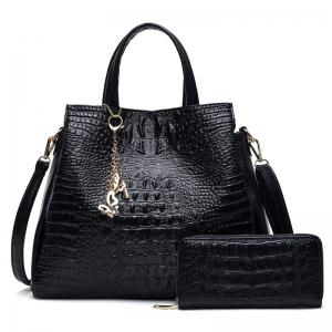 Crocodile Embossed Handbag with Wallet - Black