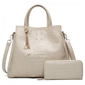 Crocodile Embossed Handbag with Wallet - White
