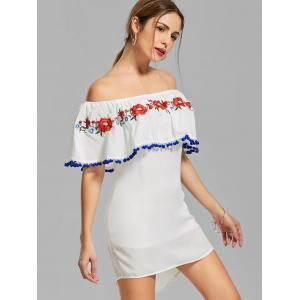 Off The Shoulder Flounce Embroidered Dress - WHITE M