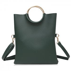 Metal Ring Tote Bag with Wristlet - Green