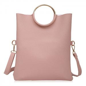 Metal Ring Tote Bag with Wristlet - Pink