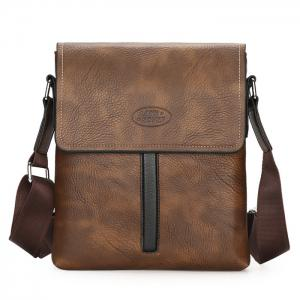 Flap Faux Leather Crossbody Bag - Brown