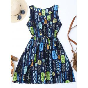 Drawstring Leaf Print A Line Dress