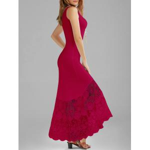 Scalloped Lace Panel Maxi Tank Dress - Cerise - Xl