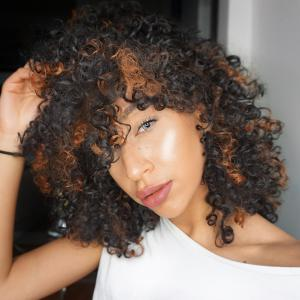 Adiors Highlight Medium Afro Curly Side Bang Synthetic Wig