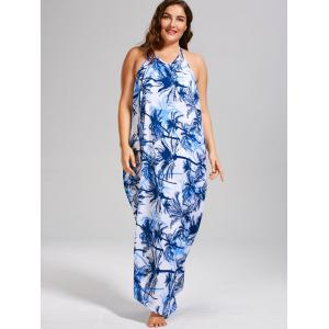 Coconut Tree Print Plus Size Cover Up Dress - BLUE 5XL