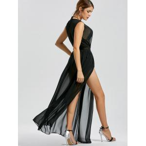 Sheer Slit Low Cut Mesh Robe de fête - Noir S