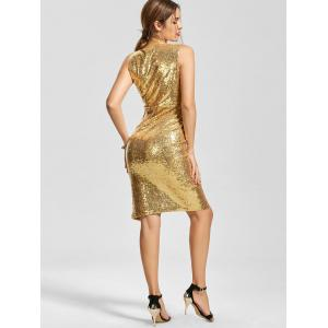Front Slit Plunging Neck Bodycon Sequin Dress - GOLDEN M