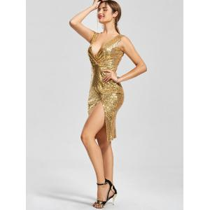 Front Slit Plunging Neck Bodycon Sequin Dress - Or M