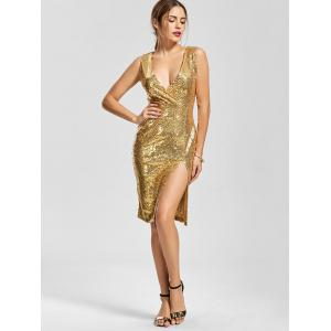 Front Slit Plunging Neck Bodycon Sequin Dress - Or L