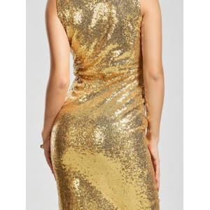 Front Slit Plunging Neck Bodycon Sequin Dress - Or XL
