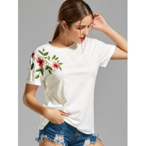 Flower Embroidered T-shirt - WHITE S