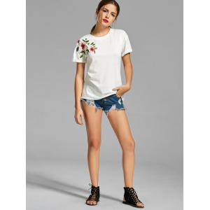 Flower Embroidered T-shirt - WHITE XL