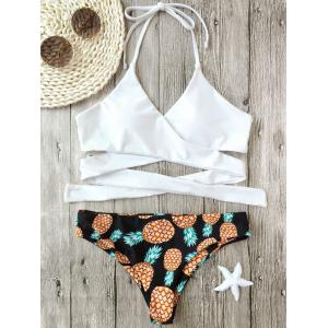 Pineapple Print Wrap Bikini Set - White - M