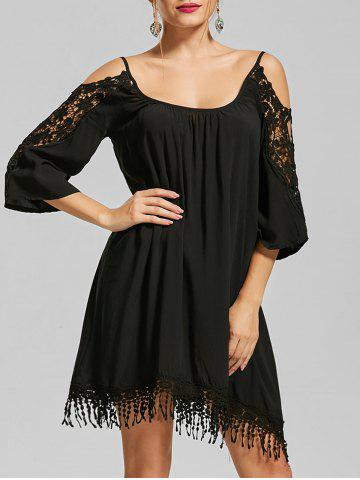 Shops Lace Trim Cold Shoulder Mini Shift Dress BLACK XL